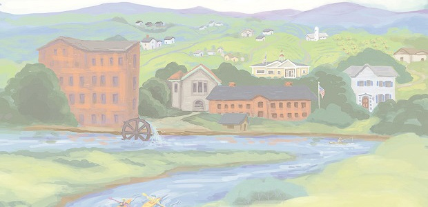 Watercolor Scene of Central Massachusetts towns including a rivers, historical buildings, apple orchards and kayakers.