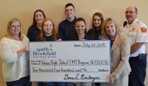 Photo of NBSB presented a $2,500 check to the Ware Public High School students enrolled in the Emergency Medical Technician (EMT) Training Program.