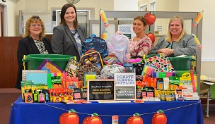 North Brookfield Savings Bank is proud to support our local schools through the Back to School Supply Drive. Shown are Bank employees Regional Branch Manager/Consumer Loan Manager Cindy Fountain, Assistant Vice President/Marketing Manager Caitlin O'Connor, Supervisor Jessica Shimansky and Senior Vice President of Human Resources Andrea Healy proudly displaying some of the school supplies donated by generous community members, customers and NBSB employees.