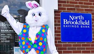 Image of the Easter Bunny at North Brookfield Savings Bank