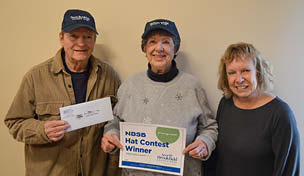 NBSB Hat Contest Winners Richard and Geraldine Sauve with Patty Ostrout