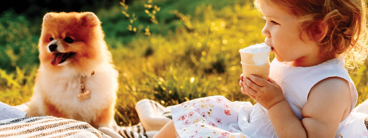 Young girl enjoying an ice cream while having a picnic with her adorable dog.
