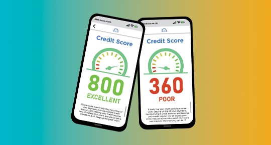 Good and bad credit scores simulated on phones