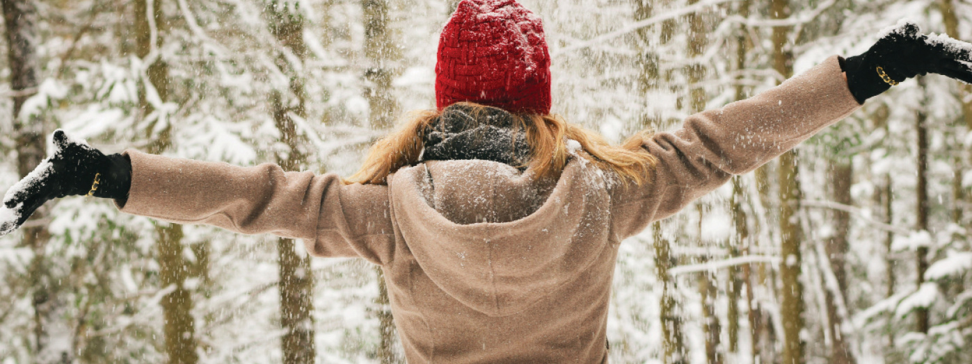 Women in the woods during winter