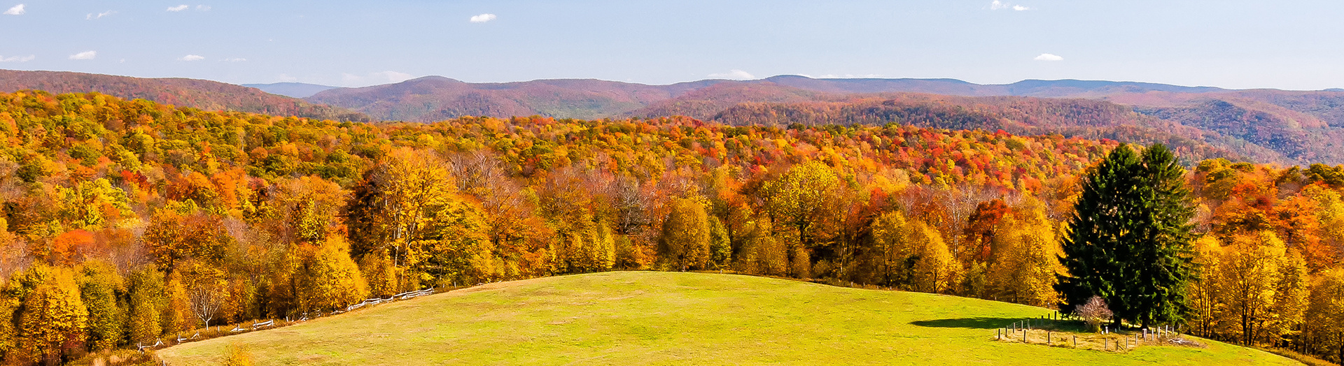 on a hill overlooking a fall forest and hills beyond