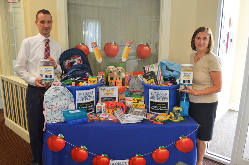 North Brookfield Savings Bank staff delivered supplies collected through the School Supply Drive fundraiser to local schools.