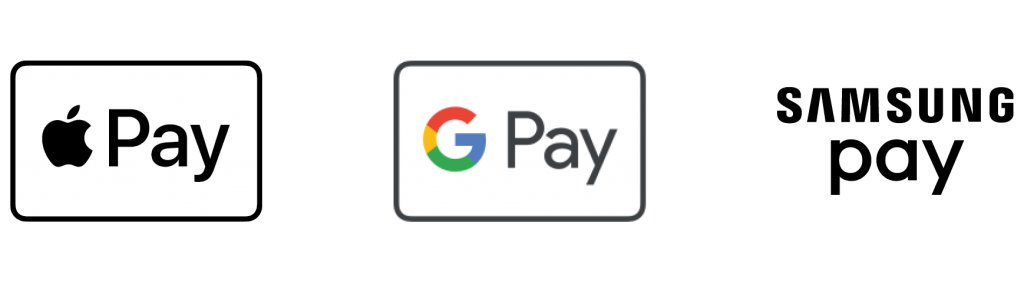 Apple Pay®, Google Pay™, & Samsung Pay icons